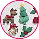 Пуговицы декоративные новогодние и рождественские, в наборах