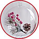 Веточка новогодняя с шишкой и ягодами в прозрачном шаре