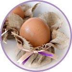 Пасхальные яйца в мешковине