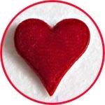 Сердечко-наклейка бархатное