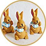 Кролики рыжие мини, 4 шт., фигурки для декора