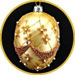 Пасхальное украшение - яйцо подвесное золотое