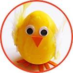 Цыпленок к Пасхе - из пенопластового яйца с перышками
