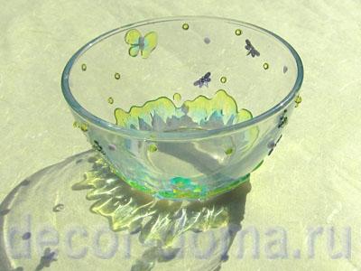 Имитация расплавленного стекла - вазочка
