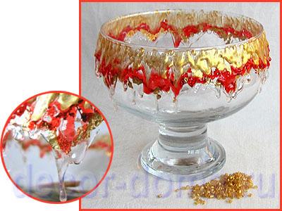 Ваза - декор стекла расплавленными гранулами