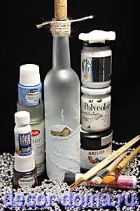 Роспись бутылки к Новому Году, материалы