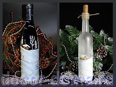 Роспись бутылки Новогодний пейзаж мастер-класс