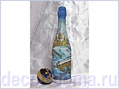 Новогодний декупаж на бутылке шампанского мастер-класс пошаговый