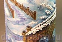 Декупаж шампанского на Новый Год, паста структурный снег