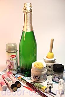 Декупаж бутылки шампанского, материалы