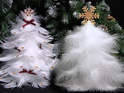 Новогодняя елочка из перьев, мастер-класс