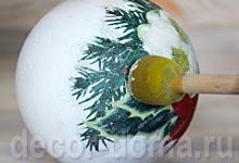 Декупаж на пенопластовом шарике, новогодний мастер-класс