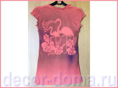 Декор футболки текстильными красками-спреями по трафарету, мастер-класс