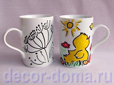 Декор чашки фломастерами по фарфору, мастер-класс