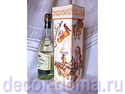 Коробка для вина новогодняя