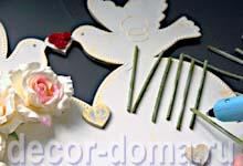 Часы свадебные с розами, мастер-класс, декор ротанговыми палочками