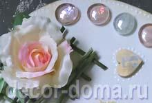 Часы свадебные с розами, мастер-класс, декор камешками-марблами