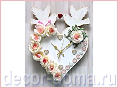Часы свадебные с розами, мастер-класс