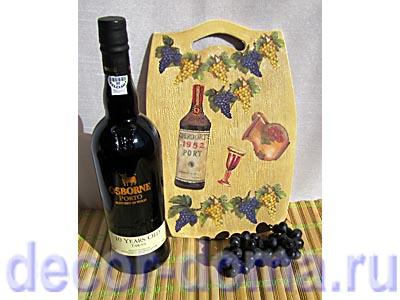 Доска Вино и виноград, мастер-класс по декупажу