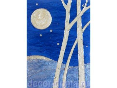 Ночной зимний пейзаж, мастер класс по декору