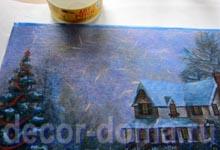 Рисовая декупажная бумага с рождественским пейзажем - декупаж, мастер-класс