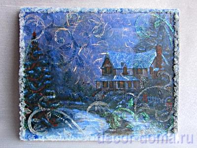 Мастер-класс по декору - панно-пейзаж зимний с эффектом инея