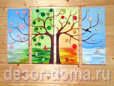 Создание декоративного панно акриловыми красками и объемными элементами