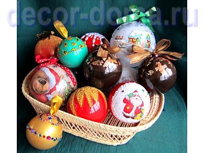 Елочные шары пластик с декором