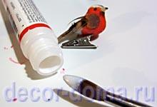 Превращение птички в снегиря, мастер-класс, краска для крылышек