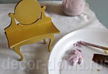 Кукольный туалетный столик шебби-шик, пошаговый мастер-класс