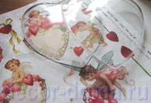 Заготовка сердце и декупажная бумага Валентинов день