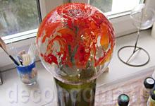 Марморирование и золочение на стеклянной вазе, мастер-класс