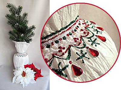 Декор стеклянной вазы к праздникам бумагой плиссе, мастер-класс