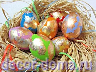 Пасха, мастер-класс, яркие яйца с поталью