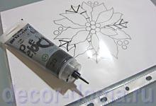 Витражный декор на вазе Пуансетия, шаг 1, рисунок в полиэтиленовом файле и тюбик Pebeo Artistick