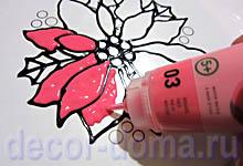 Витражный декор на вазе Пуансетия, шаг 3, лепестки пуансетии, красная краска Pebeo Artistick