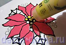 Витражный декор на вазе Пуансетия, шаг 4, желтая краска Pebeo Artistick