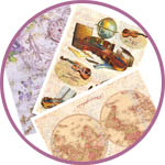 Декупаж - рисовая бумага: ноты, скрипки, географические карты