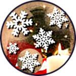 Фетровые снежинки - наклейки декоретто новогодние