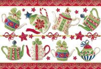 Бумага рисовая для декупажа, Stamperia, 48х33 см, Рождественские чайники (с золочением)