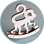 Фигурка сборная, обезьяна-качалка, символ 2016 года
