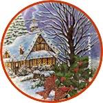Декупажная бумага зимний пейзаж с домиком