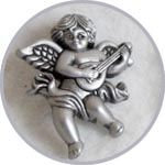 Пуговицы для декора, Ангелы-музыканты, серебряные