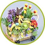 Пасхальная миниатюра с цветочками и кроликом