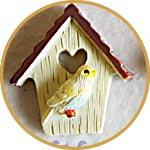 Скворечник с птичкой, декор миниатюрный
