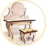Мебель для кукол - трюмо с банкеткой