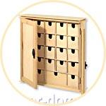 Деревянный шкафчик с дверками, 24 ящика