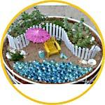 Миниатюрный садик в кашпо