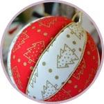 Кинусайга, новогодний шар из пенопласта и лоскутков