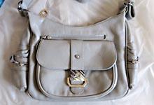 Декор сумки в технике Decopatch - сумка светло-серая